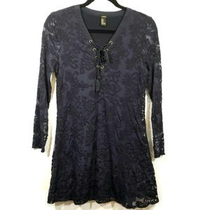 F21 fit & flare blue lace skating dress M